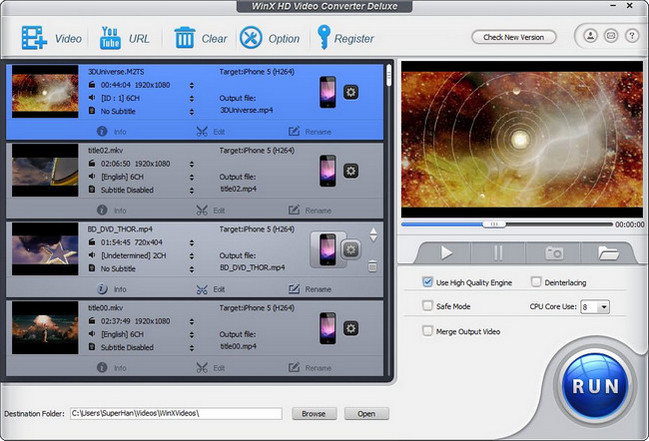 WinX HD Video Converter Deluxe Crack Patch Kegen License key