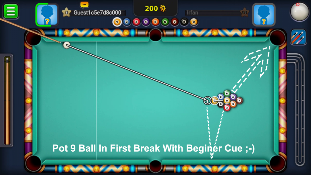 8 Ball Pool Hack 9 Ball Break Trick With Beginner Cue